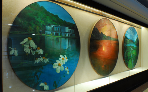 圖片1: 山水湖光:碧湖攬勝、基河夕照、大湖遠眺(三件) (作品照片共1張)